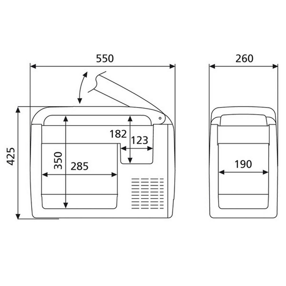Wymiary lodówki samochodowej Waeco CF26