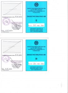 Świadectwo kwalifikacji Grupa 3 sieci gazowe front