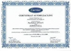 Certyfikat CARRIER 2008