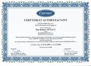 Certyfikat CARRIER 2009