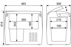 Wymiary lodówki samochodowej Waeco CDF18